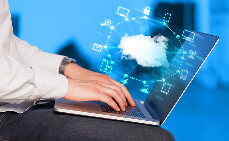 Hand working with a Cloud Computing diagram, new technology conc